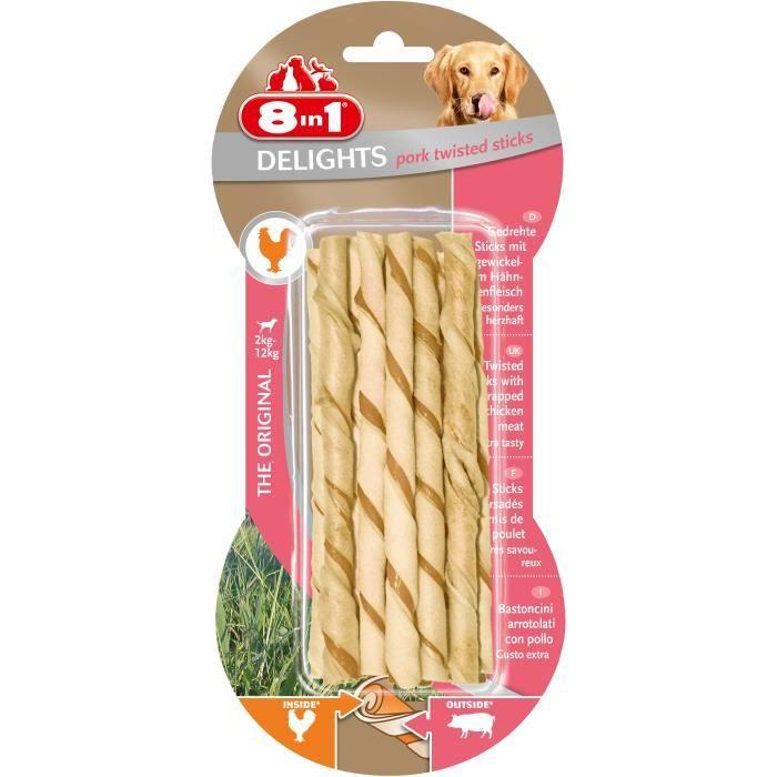 8in1 Friandise Stick À Mâcher - En Peau De Porc Garni Viande Poulet Pour Chien 10 Pièces