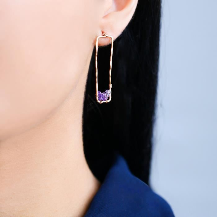 Womens 14k Rose Gold Filled And Ombre Purple Amethyst Stud Dangle Earrings Jewelry Gift - Valentin ODCM8
