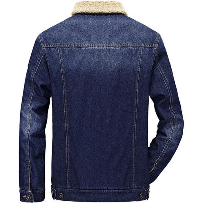 bleu Manches Outwear A Casual Veste Bleu Longues A Clair Trucker Hommes Minetom Foncé Masculine bleu noir En Nouvelle B Hiver Jean Denim Chaud Jacket Épais Blouson B A noir ECgBaqw