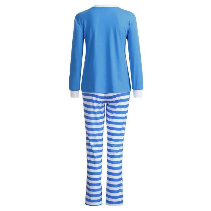 Chemise Notte Famille Maman Femmes D'ensemble Pyjama Bleu 2pcs Sommeil Pantalon Noël D'intérieur xYzawdaqp