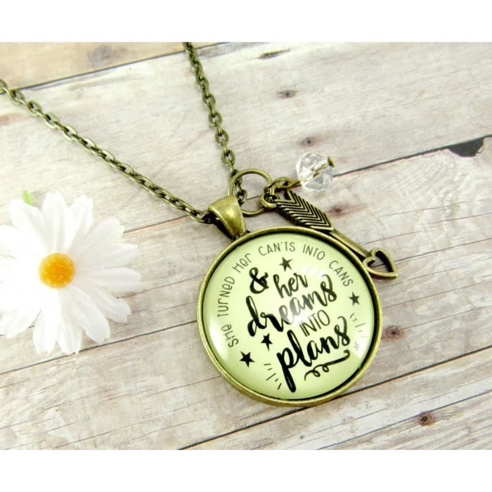 Womens 24 She Turned Her Cants Into Cans And Dreams Into Plans Necklace Arrow Heart Charm HJGTQ
