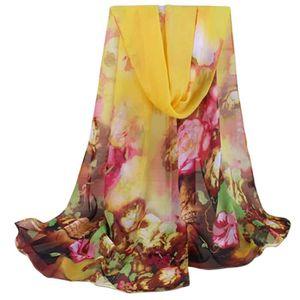 9a8755b9f6ae2 ECHARPE - FOULARD Femmes en mousseline de soie motifs floraux Châle