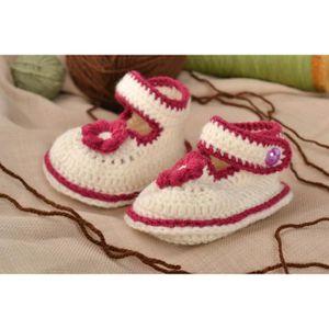 9436a91d63e0a Chaussons bébé fait main au crochet en mi-laine design Chaussures bébé