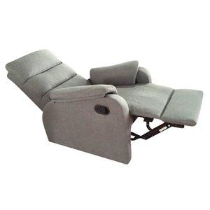FAUTEUIL Fauteuil de relaxation manuel - Tissu gris - Class