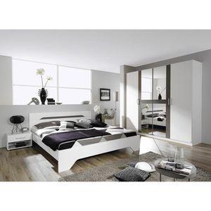 Chambre Adulte Design Blanche Et Grise Rudie 160 X 200 Cm