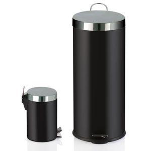 POUBELLE - CORBEILLE Lot de 2 poubelles 30L + 3L Noir, GM : diamètre 42