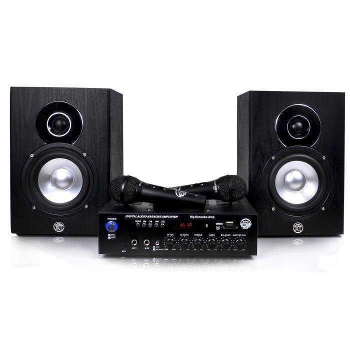 MYDEEJAY MY KARAOKE Ensemble Karaoke - 1 Ampli + 2 enceintes 2x75W - USB - Bluetooth - 2 Micros