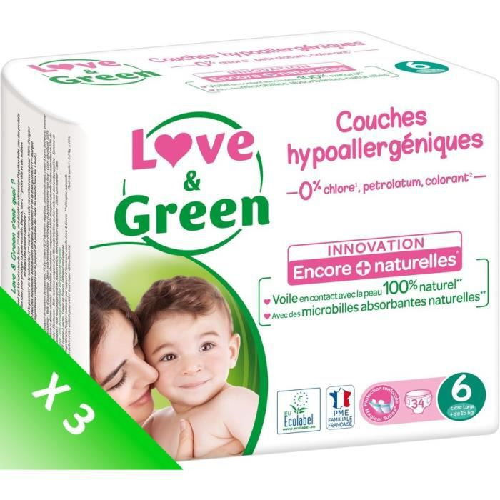 LOVE AND GREEN Couches écolabellisées T6 - 102 couches - Eco Pack