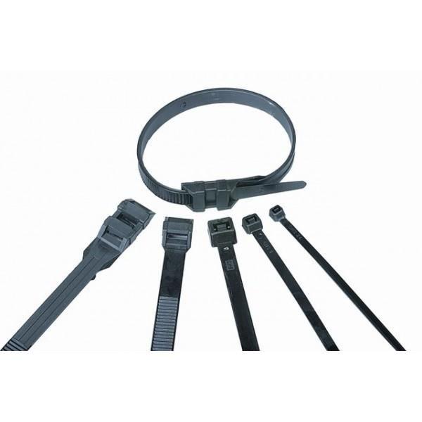 VOLTMAN Lot de 100 colliers de fixation Nylon - 350 x 7,5 mm - Noir
