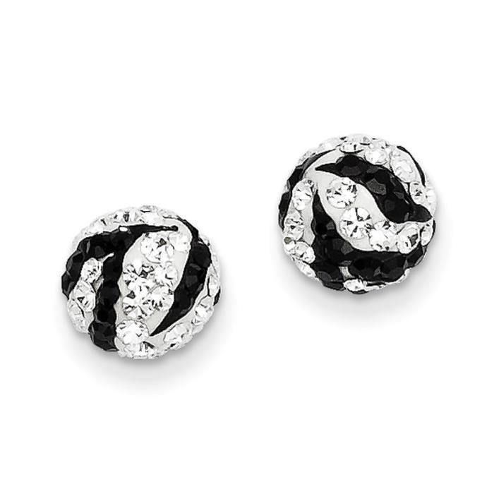 Zebra 14 carats-Cristal - 8 mm-Boucles doreille