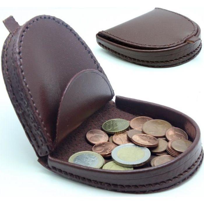 Porte monnaie cuvette en cuir homme femme marron achat for Porte monnaie homme