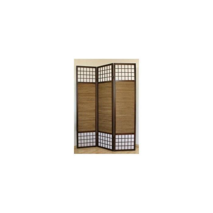 PARAVENT Paravent 3 panneaux marron en bois et bambou 132 x