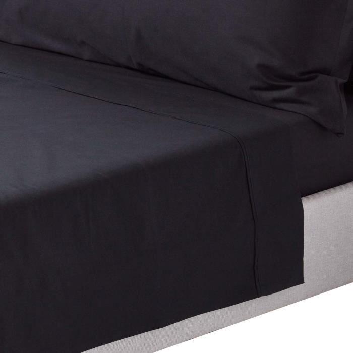 Drap Plat Uni 100 Coton Egyptien 200 Fils Coloris Noir 230 X 255