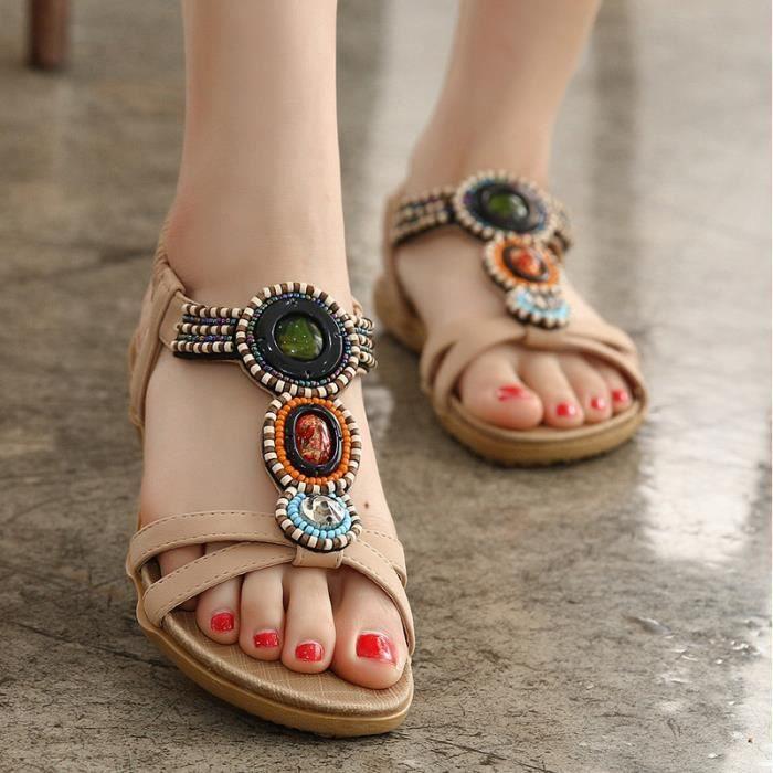 Bohème Noir Style Apricot Sandales Chaussures Ma De Femme 54q3ALjR