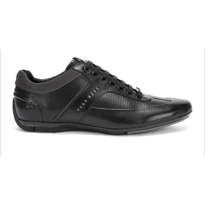 7978f055aa6 HUGO BOSS Baskets en cuir Sporty Lowp Noir Noir - Achat   Vente ...