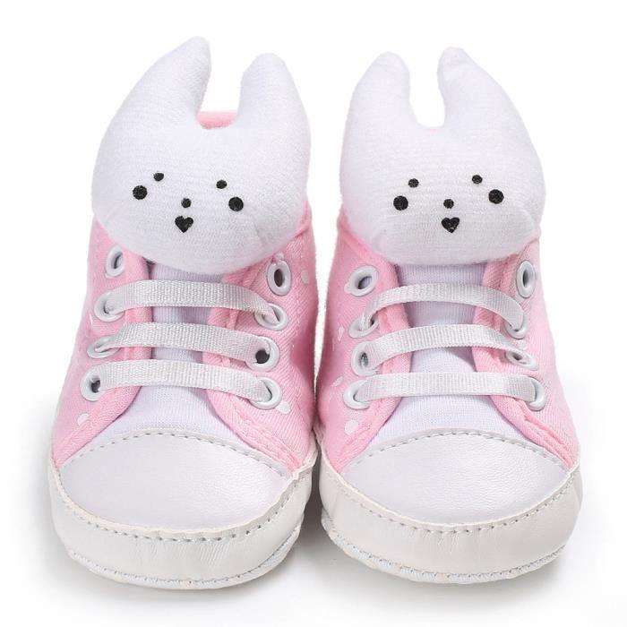BOTTE Toddler bébé fille douce semelle de coton chaussures à lacets casual baskets lapin@Rose