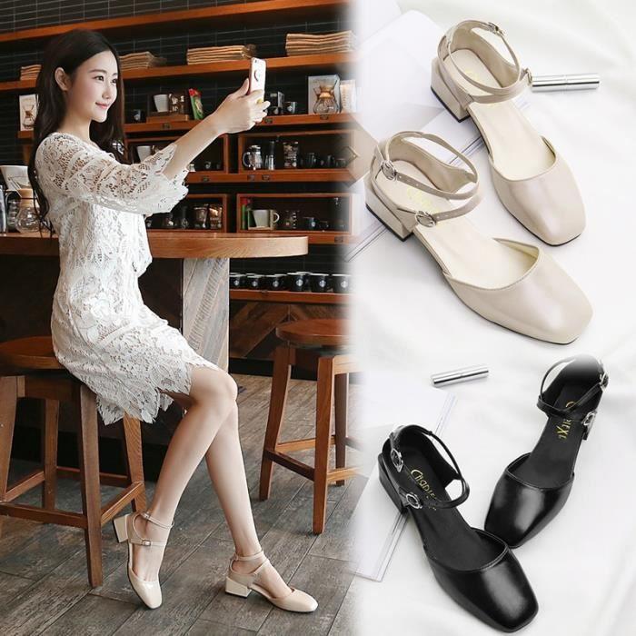 Automne couleur unie Baotou sangles de mode sandales simples matures chaussures femmes,noir,36