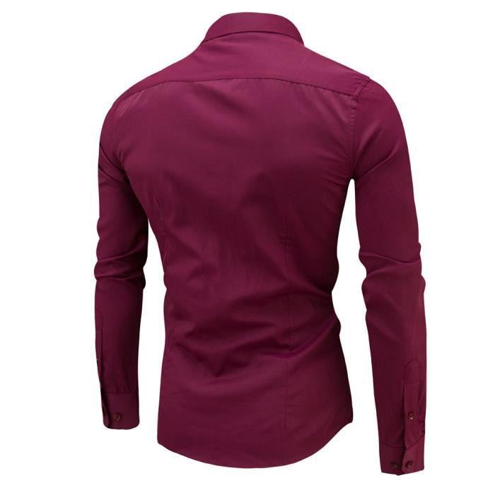 Chemise slim à manches longues pour hommesDu vin