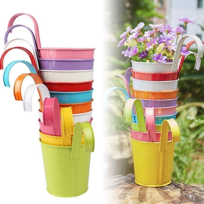 10pcs pots de fleurs avec poign e amovible pot plante suspendu 10 couleurs pots fleur m tal fer. Black Bedroom Furniture Sets. Home Design Ideas