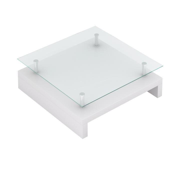 Table Basse De Salon Carrée Verre Blanc Laqué Achat Vente Table
