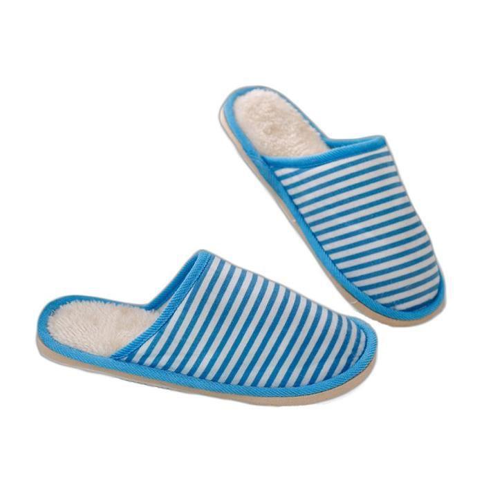 Femmes Maison pantoufles en mousse Chaussons Fuzzy Chaussures Stripes Hiver chaud Slipper pour adultes GQ3T4 Taille-36