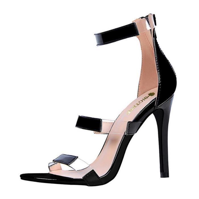 Sandales Femmes Talon Haut Sexy Stiletto Mode Retour Zipper D'été Noir Y6yvI7fbmg