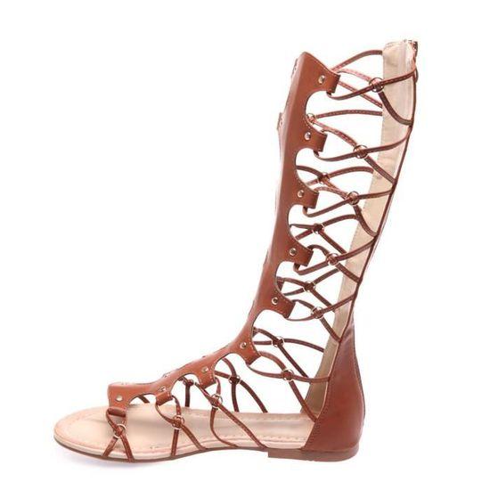 10363717c23 La Modeuse - Sandales montantes style spartiate en PU Marron Marron - Achat    Vente sandale - nu-pieds - Cdiscount