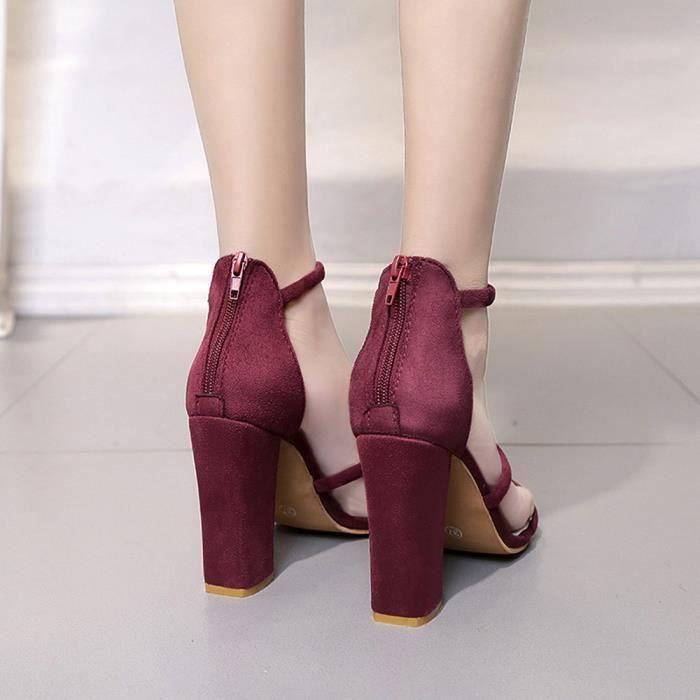 Mode Femmes Dames Zip Sandales Cheville Talons hauts Block Party Open Toe Chaussures XMM71225532_1001