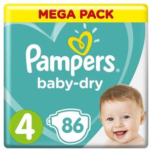 COUCHE PAMPERS Baby-Dry Taille 4, 9-14 kg - 86 Couches