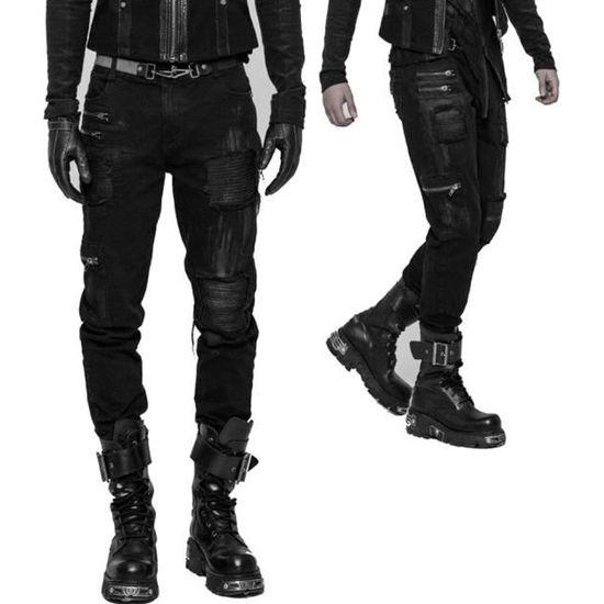 432c45919e23 Pantalon homme PUNK RAVE  black storm  Noir Noir - Achat   Vente ...