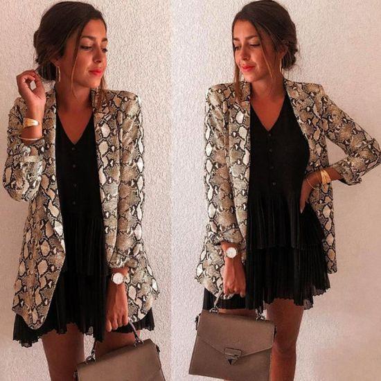 Blazer Outwear Kaki Motard Longues Imprimé Zp81030146 À De Veste Hauts Manteau Femmes Pour Manches Costume Serpent qp7z6aw6T