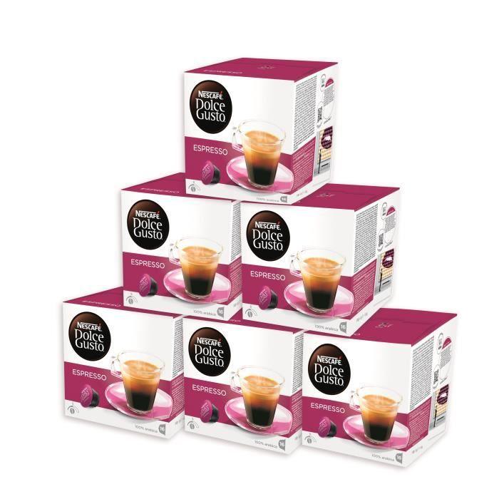 NESCAFÉ DOLCE GUSTO Lot de 6 paquets d'Espresso - 96 Capsules