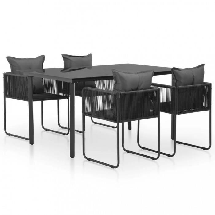 ICAVERNE edition Ensembles de meubles d\'exterieur contemporain Salle a  manger de jardin 9 pcs Resine tressee Noir