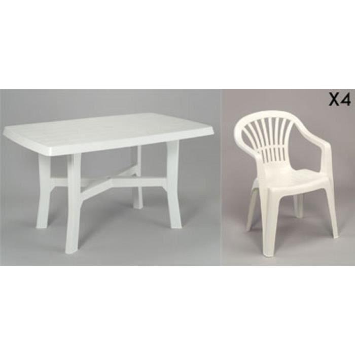 Table rectangulaire blanche 138 cm + 4 fauteuils jardin plastique ...