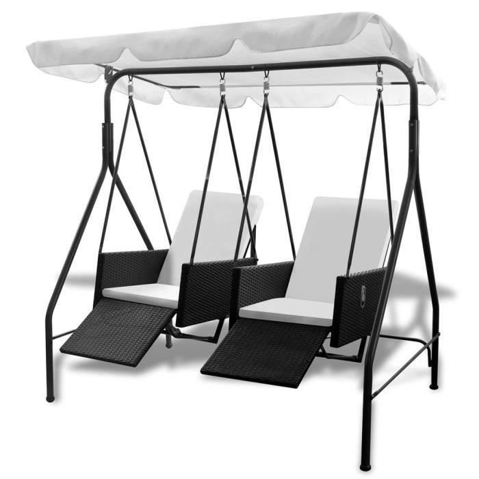 magnifique balancelle noire 2 places avec fauteuils inclinables en ploryrotin achat vente. Black Bedroom Furniture Sets. Home Design Ideas