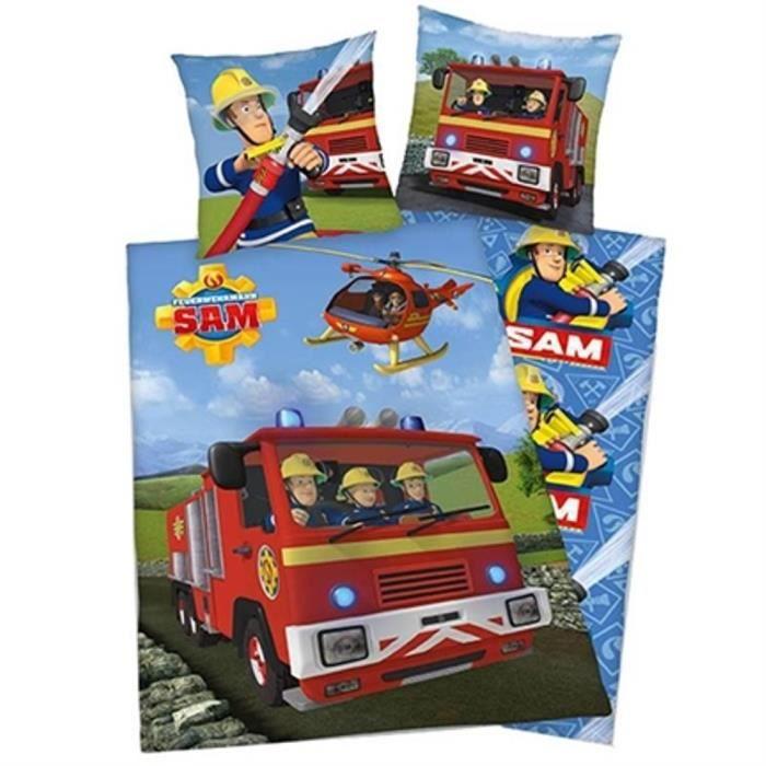 Sam Le Pompier Housse De Couette 120x150 Cm 1 Taie 60x70 Cm