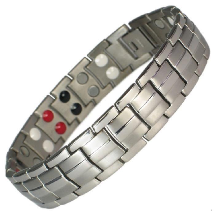 Bracelet magnétique titane argent et aimants - Longueur 18,2 cm