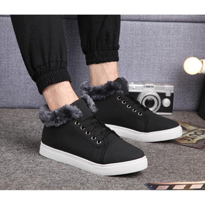 (black)Bottes chaudes bottes courtes anti-dérapage chaussures de coton en tissu.