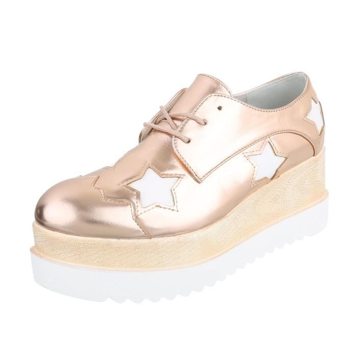Neurs Chaussures Argent Laceter Fl Femme Noir Rose 40 Or Plateau POn0wk