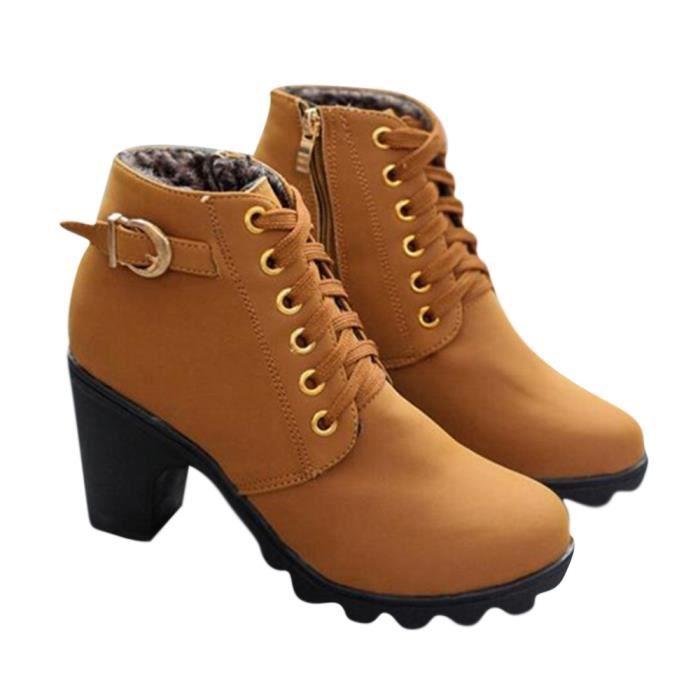 bottes d'hiver Nouveau mode Automne Hiver Haute QualitéDentelle-up High-heeled motorcycle boots Dame chaussures PU bottillons