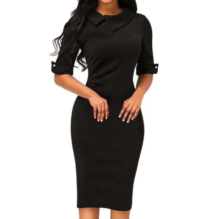 f790f5cb4ec Les femmes rétro moulante au-dessous du genou formel robe de bureau robe  crayon avec fermeture à glissière au dos Noir