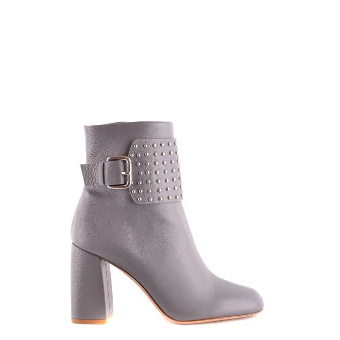RED VALENTINO FEMME NQ0S0999VGN113 GRIS CUIR BOTTINES