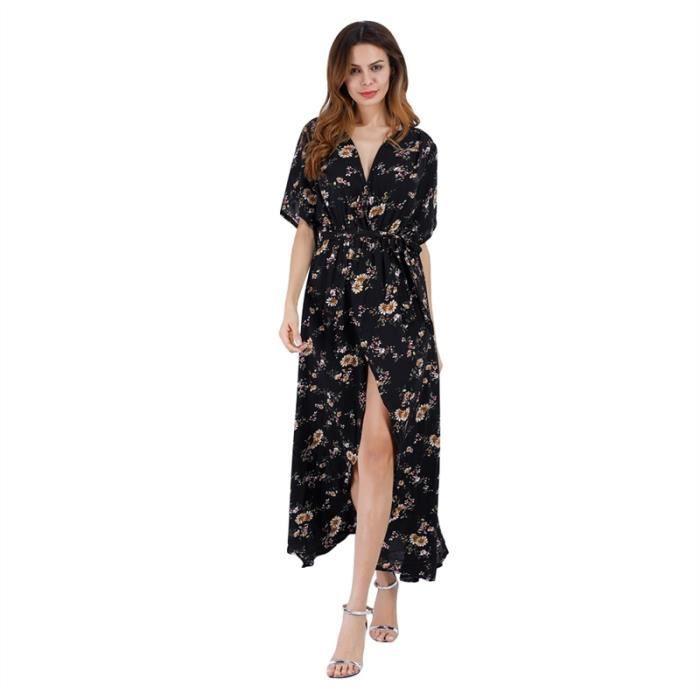 Femme col V manches demi imprimé floral Maxi Robe