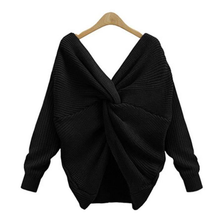 ... Top Femme Haut Femme Mode Automne Hiver Pull-Over Casual. PULL Femme  Sexy Sweater Col V Croisé Dos Nu en Tricot P 990a8b9be1ef