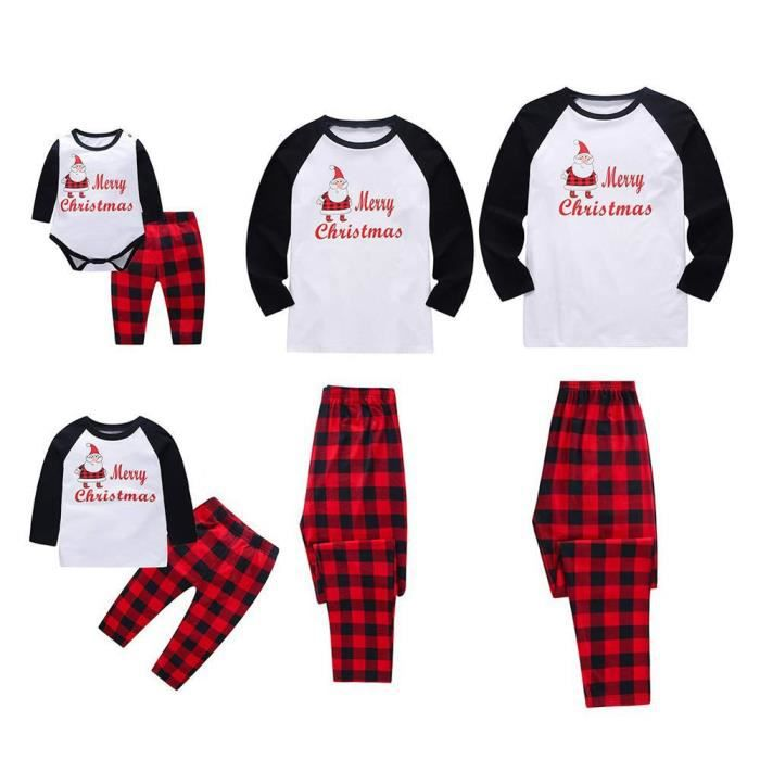 2c33ded531f71 Femmes Joyeux Noël Pyjama Père Noël Plaid famille assortis Ensemble de nuit   blanc