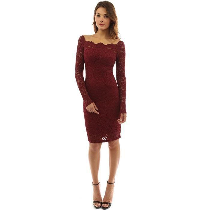 mechhre robe en dentelle femme robe de soirée sexy élégant manche