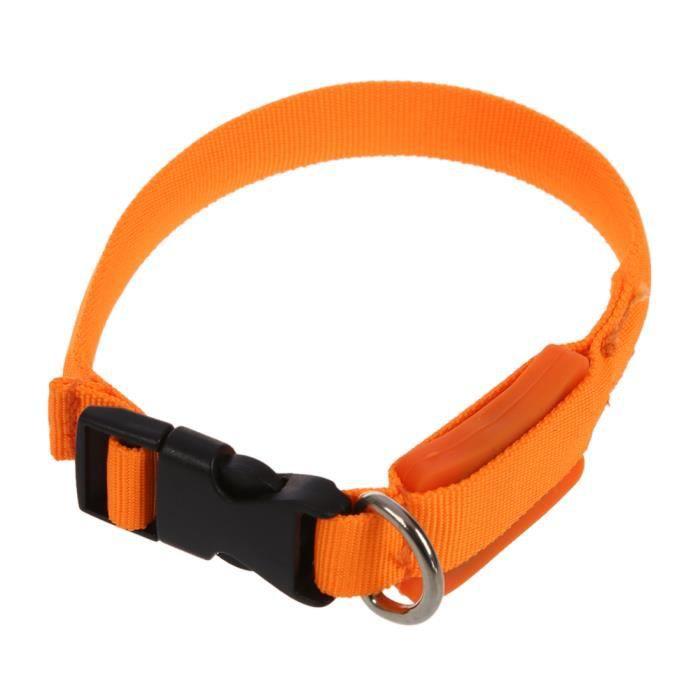 Nuit Plaine Led Clignotant Illuminous Securite Reglable Chien Chat Collier Pour Tag - Orange