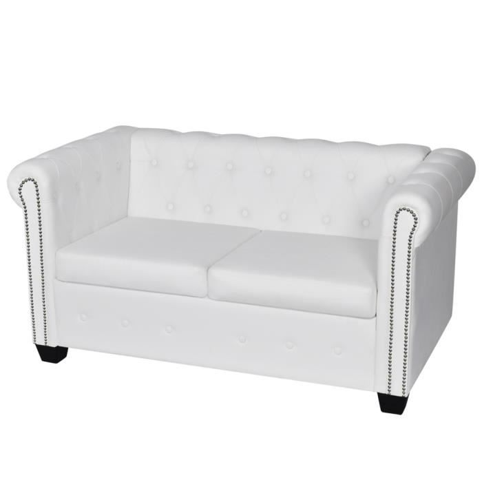 Chesterfield 2 places blanc achat vente chesterfield 2 - Canape chesterfield blanc pas cher ...