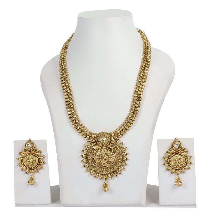 des femmes beaucoup plus plaqué or ethnique Kundan Polki Collier Boucles doreilles de mariée VYE5F