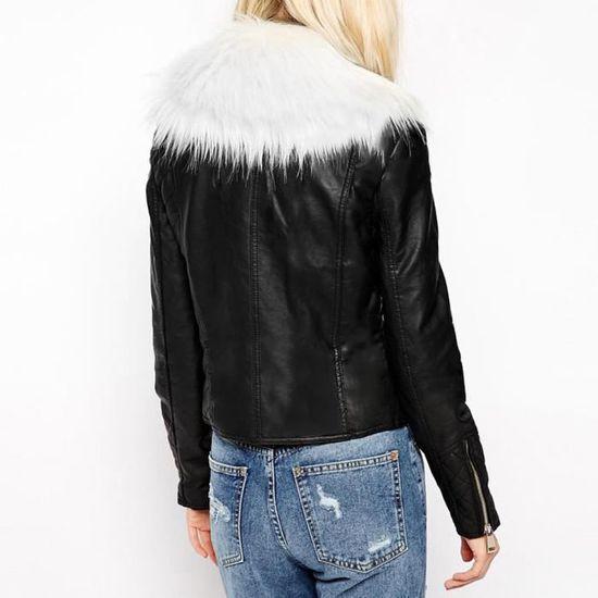 Solides Manches Fourrure Fermeture Longues En Poches Mode Cou Taille Manteau Veste À Plus De Libaib Glissière Femmes xnwXIzP44